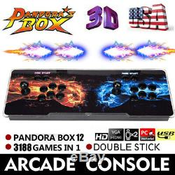 3D Pandora Box 12s 3188 Video Games Double Stick Arcade Console US Fast delivery