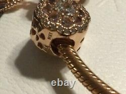 Authentic NEW! Pandora Bracelet Rose Gold Barrel Clasp With 9 Charms Lot in Box