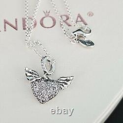 Authentic Pandora Pave Heart & Angel Wings Necklace with CZ & Earrings set