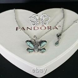 Authentic pandora butterfly earrings, necklace set & Box