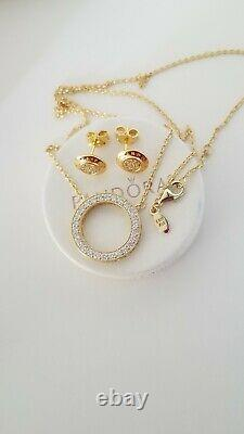Authentic pandora gold tone Set signature earrings, necklace and chain 925 new