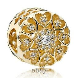 Genuine Pandora Hearts of Gold 14K Gold withClear CZ Charm 750841CZ New with Box