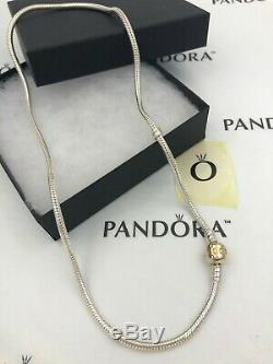 Genuine Pandora Silver & 14k Gold Clasp Necklace 16.6 590702HG-42 withbox shown