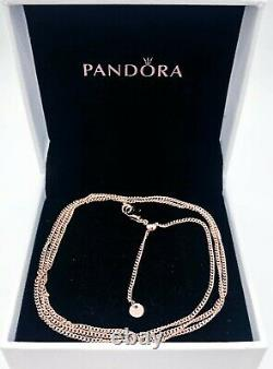 NEW 100% Authentic PANDORA Rose 14K Gold Logo Curb Chain Necklace 388283