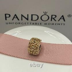 NEW! Authentic Pandora 14K Gold Flower Clip #750507 withHinged Box