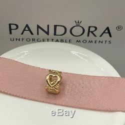 NEW! Authentic Pandora 14K Gold Open Heart Spacer #750454 withHinged Box