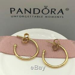 NEW! Authentic Pandora 14K Gold Small Hoops Earrings #250442 withHinged Box