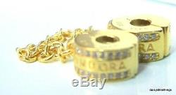 NEWithTAGS AUTHENTIC PANDORA SHINE LOGO SAFETY CHAIN #767027CZ HINGED BOX