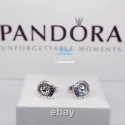 New Genuine Pandora Radiant Logo Stud Earrings 296216CZ RRP£45