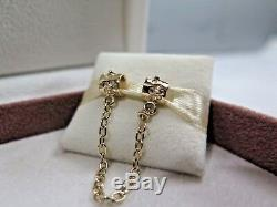 New withBOX Pandora 14K 585 Gold Floral Safety Chain #750312-05 Protect Bracelet