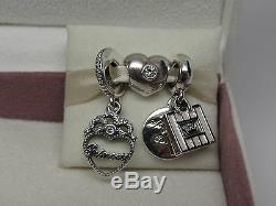 New withBox 3 Pandora My Princess & Shopping Queen Charms Heart Love Diva Romance