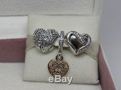 New withBox Pandora Gift Set of 3 Beautiful Heart Charms Magnificent Heart Angel
