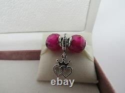 New with Box Set of 3 Pandora Charms Crowned Hearts Love & Ruby Facets Hearts Love