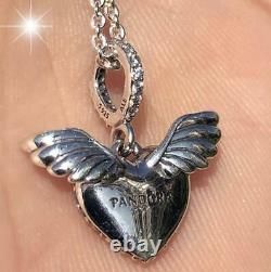 Nwt Authentic Pandora Silver Necklace Heart And Angel Wings #398505c01 Hinge Box