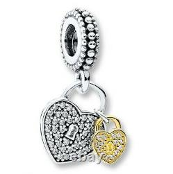 PANDORA Gift Charm Set Two Tone Silver 14K Gold Heart Flower Authentic with Box