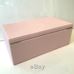 PANDORA Pink Real Leather Two Tier Medium Size Jewellery Box Mirror Charm Rod