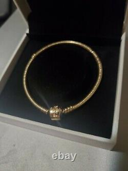 Pandora 14k Gold Clasp Bracelet Size 7.9 550702 NEW With box and Reciept